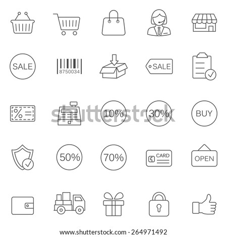 Sale line icons set.Vector - stock vector