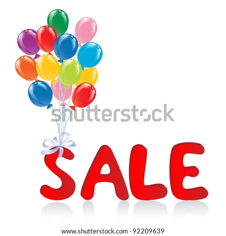 Sale message with balloons. Vector-Illustration - stock vector