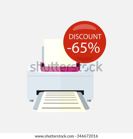 Sale of household appliances. Electronic device red bubble discount percentage. Sale badge label. Office appliances flat style. Printing, printer icon, printing press, office printer, computer, copier - stock vector