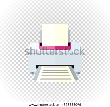 Sale of household appliances. Electronic device white printer logo. Office appliances flat style. Printing, printer icon, printing press, office computer copier - stock vector
