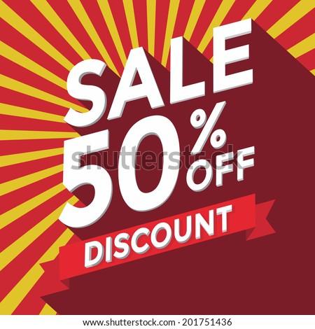 Sale 50% off discount - stock vector