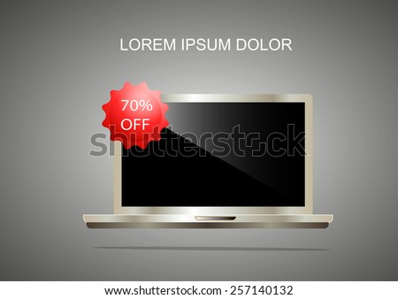 sale off of premier laptop.silver style .Best Buy On Laptop Showing Excellent Sale Or Premium Product. - stock vector