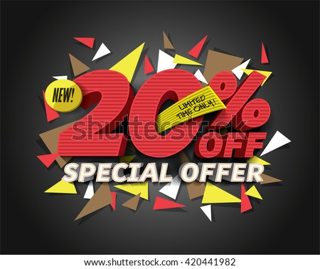 Sale 20% off with abstract triangle elements. Sale background. Special Offer. Sale poster. Sale vector. Vector illustration. - stock vector