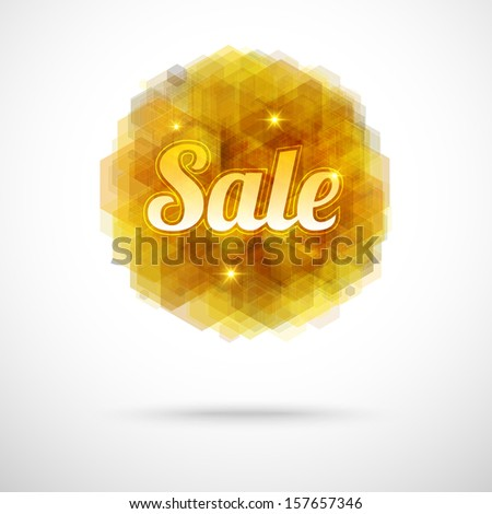 Sale offer on modern sparkling abstract background in golden shades - stock vector