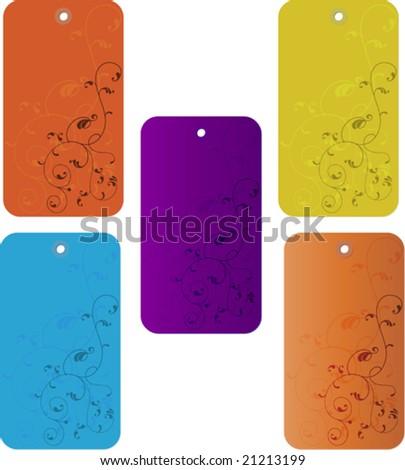 Sale Ornamental Tag Design - stock vector