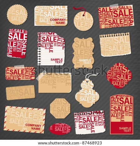 Sale paper objects for your design - stock vector