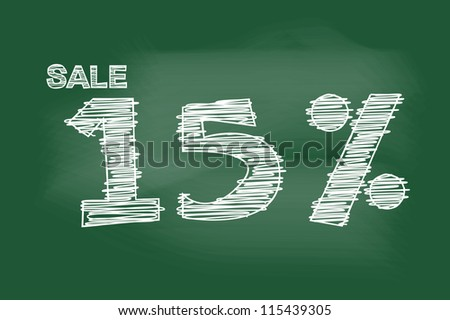 sale 15 percent drawing on blackboard