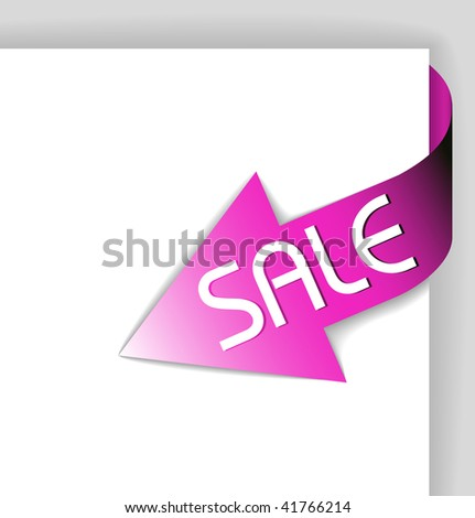 Sale pink corner ribbon - arrow pointing at the item in sale - stock vector