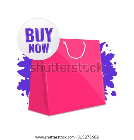 """Sale pink shopping bag with tag """"buy now"""". Discount concept vector illustration. - stock vector"""