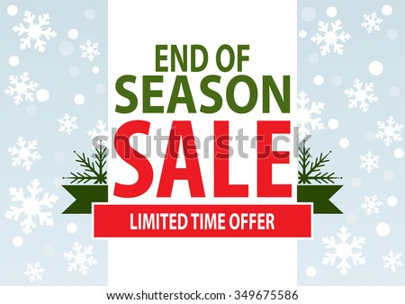 Sale poster; end of season sale with stylized white snowflakes, vector illustration - stock vector