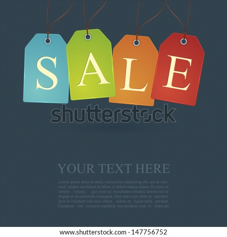 Sale poster or sign design with cloth tags. Vector illustration - stock vector