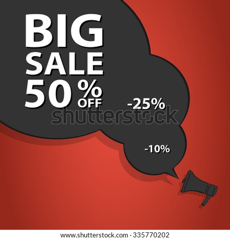 Sale poster speech bubble with percent discount. Christmas sales. Holiday sales. Vector illustration. EPS10 - stock vector