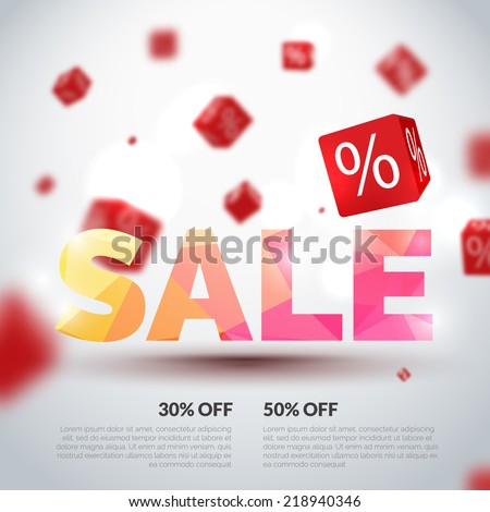 Sale poster. Vector illustration. Design template for holiday sale event. 3d cubes with percents. Original festive backdrop.  - stock vector