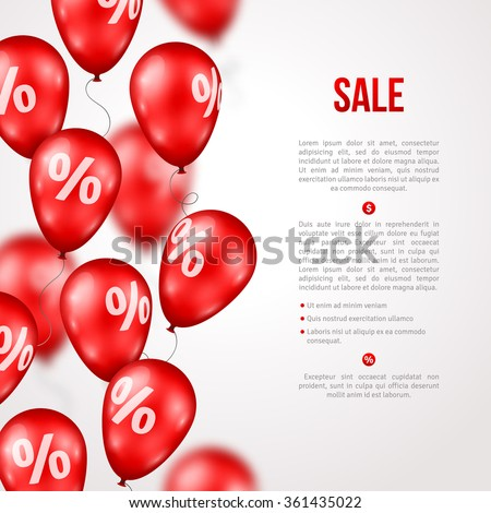 Sale poster. Vector illustration. Design template for holiday sale event. 3d red balloons with percents. Original festive backdrop for shop grand opening birthday celebration - stock vector