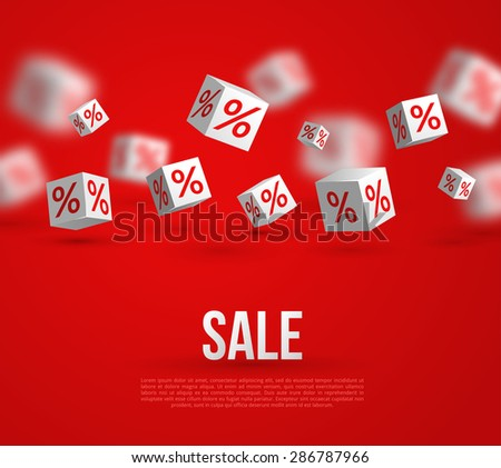 Sale Poster. Vector Illustration. Design Template for Holiday Sale Event. 3d White Cubes with Percents on Red Background. Original Festive Backdrop. - stock vector