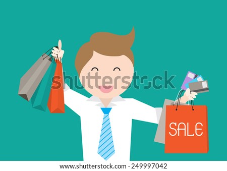 Sale poster with business man Credit Card Holders and shopping bags - stock vector