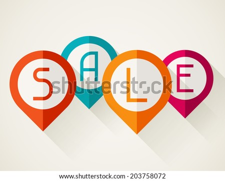 Sale poster with location markers in flat design style. - stock vector