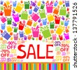 Sale poster with percent discount and colorful gift boxes. Vector Illustration - stock vector