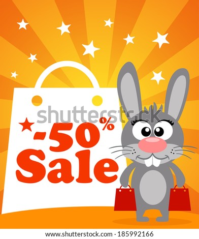 Sale poster with rabbit vector - stock vector