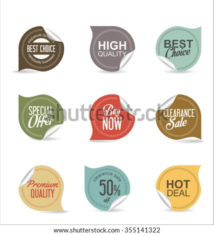 Sale price tag collection - stock vector