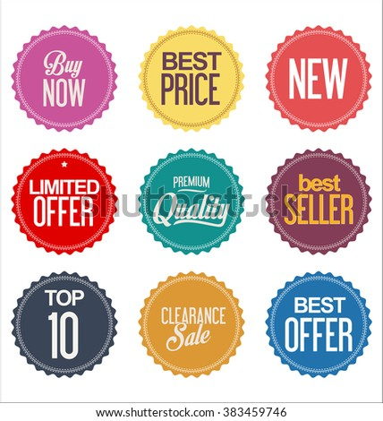 Sale promo labels and stickers collection - stock vector