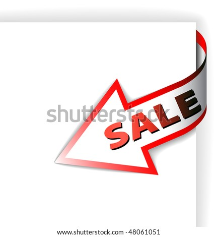 Sale red corner ribbon - arrow pointing at the item in discount (vector) - stock vector
