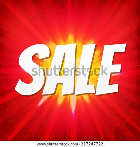 Sale Red Poster With Gradient Mesh, Isolated On White Background, Vector Illustration - stock vector