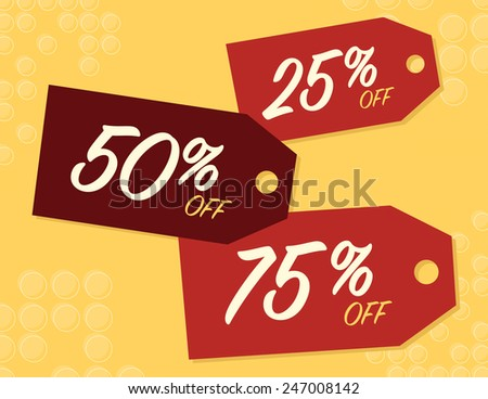 Sale sale with 25, 50, and 75% off price tags - stock vector
