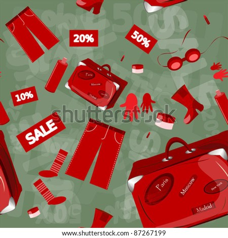 sale seamless pattern with clothing and shoes