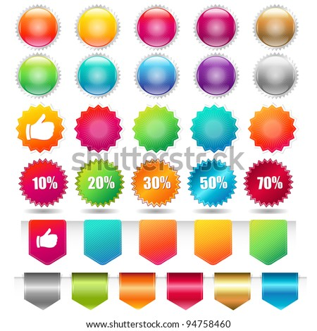 Sale Shopping Badge And Labels, Isolated On White Background, Vector Illustration - stock vector