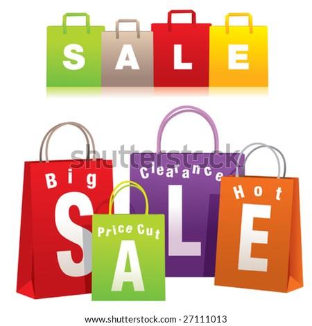 Sale shopping bags - stock vector