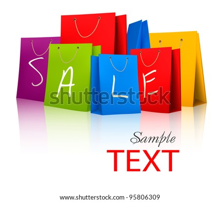 Sale shopping bags. Concept of discount. Vector illustration - stock vector