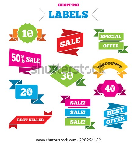 Sale shopping labels. Sale discount icons. Special offer price signs. 10, 20, 30 and 40 percent off reduction symbols. Best special offer. Vector
