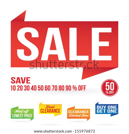 Sale sign graphics isolated on white in vector format.  - stock vector
