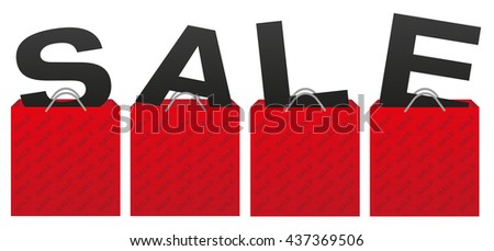 Sale Sign - Illustration of Red Shopping Bags With Letters on White Background