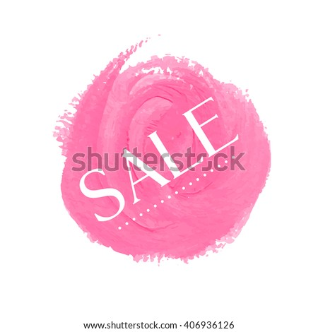 Sale sign over original grunge art brush paint texture background acrylic stroke vector illustration. Perfect watercolor design for shop banners or cards. - stock vector