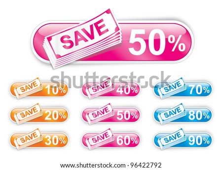 Sale Sign - Save Money Vector Discount Labels - stock vector