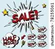 Sale sign. Signs for sales in a comic style. Layered file. - stock photo