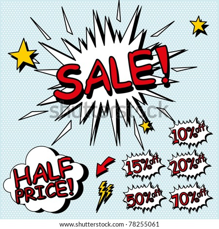 Sale sign. Signs for sales in a comic style. Layered file. - stock vector