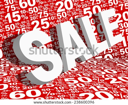 Sale Sign Various White Percentage Symbols on Red Background