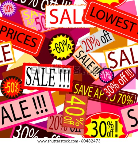 Sale signs stickers and labels  flyers seamless background - stock vector