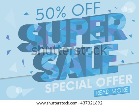 Sale, special offer web banner and poster, background. Read more place. Vector illustration.