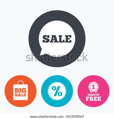 Sale speech bubble icon. Discount star symbol. Big sale shopping bag sign. First month free medal. Circle flat buttons with icon. - stock vector
