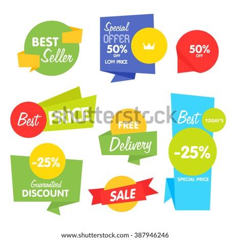 Sale sticker. Discount sticker. Vector sale sticker. Isolated sticker. Sale sticker on white background. Sale sticker, exclusive product sticker, special offer in origami style. Sale sticker set. Sale - stock vector