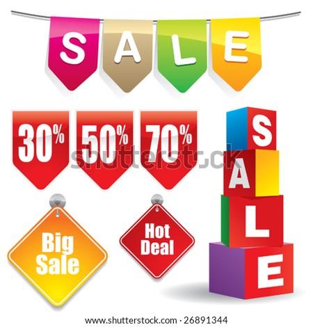 Sale stickers #3 - stock vector
