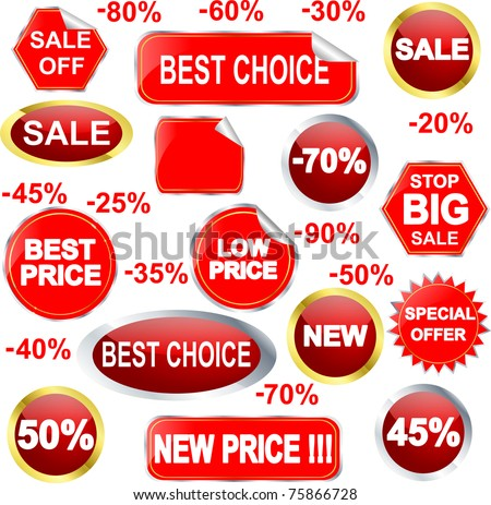 Sale stickers and labels set, vector illustration
