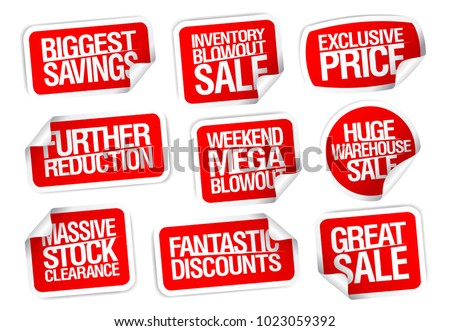 Sale stickers set - further reductions, biggest savings, great sale, etc.