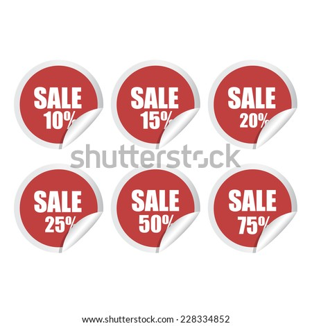 Sale stickers with percent discount vector illustration