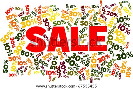 SALE surrounded by lots of discount values