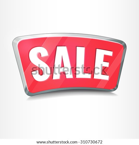 Sale tag, 3D promotion icon button. Vector Illustration. - stock vector